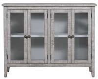 "54"" Distressed White Finish Pine Four Pane Door Credenza"