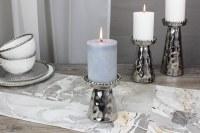 "4.5"" Silver Beaded Pillar Candle Holder"