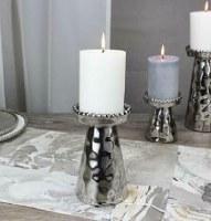 "6.5"" Silver Beaded Pillar Candle Holder"