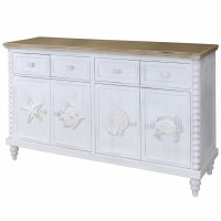 """60"""" White Washed 4 Drawer 4 Door With Sea Life Credenza"""