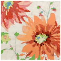 "36"" Square Orange and Red Flower Canvas"