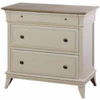 """32"""" Distressed White Finish 3 Drawer Gray Top Chest"""