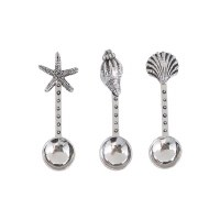 Set Of Three Distressed Silver Finish Shell Spoons