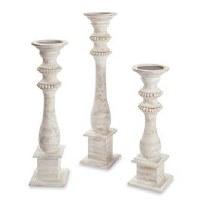 Set of Three Whitewashed Beaded Candleholders