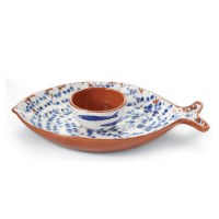 """12"""" Blue and White Terracotta Chip & Dip"""