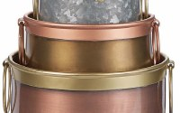 """6"""" Distressed Brass Finish Pot With Copper Handles"""