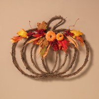 """25"""" Natural Twig Pumpkin With Leaves Wall Hanging Arrangement"""