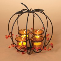 "10"" Wire Pumpkin Centerpiece With 4 Votive Candle Holders"