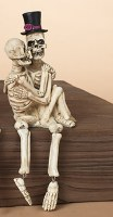 "10"" Skeleton Couple Sitting On Lap Shelf Sitter"