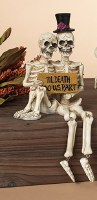 "10"" Skeleton Couple With Sign Shelf Sitter"
