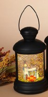 "7"" LED Spinning Glitter Lantern With House"