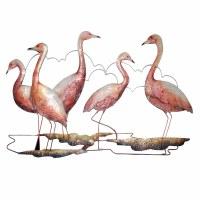 "15"" Five Pink Flamingos Capiz Plaque"