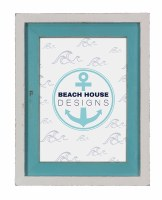 """5"""" x 7"""" White and Turquoise Frame"""