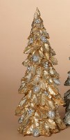 "14"" Gold Holly Polyresin Christmas Tree"