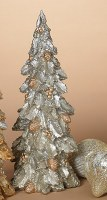 "14"" Silver Holly Polyresin Christmas Tree"