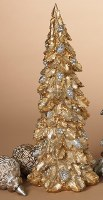 "17"" Gold Holly Polyresin Christmas Tree"