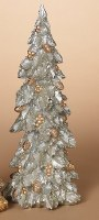 "17"" Silver Holly Polyresin Christmas Tree"