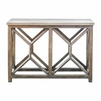 "41"" Limestone Top On Wood Base Console"