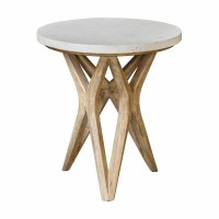 """25"""" Round Limestone Top Table On Wood Base"""