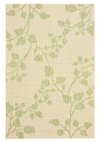 5' x 8' Beige and Green Leafy Vines Rug