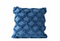 """18"""" Square Dark Blue Chenille Scales Pillow"""