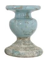 "6"" Distressed Blue Finish Ceramic Pillar Holder"