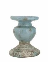 "5"" Distressed Blue Finish Ceramic Pillar Holder"