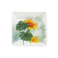 "4"" Small Tropical Garden Ceramic Plate"