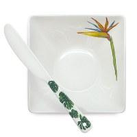 "5"" Tropical Garden Ceramic Bowl With Spreader"