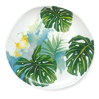 "11"" Tropical Garden Ceramic Dinner Plate"