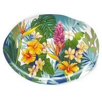 "15"" Tropical Garden Ceramic Platter"