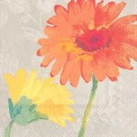 "5"" Square Orange and Yellow Daisy Beverage Napkins"