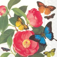 """5"""" Square Camellia with Butterfly Beverage Napkins"""