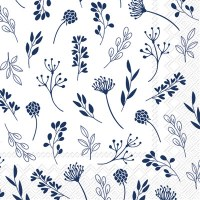 """5"""" Square Dark Blue Leaves on White Beverage Napkins"""