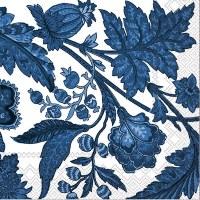"5"" Square Dark Blue Flower Vine on White Beverage Napkins"