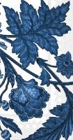 """9"""" x 5"""" Dark Blue Flower Vine on White Guest Towels"""