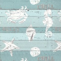 "5"" Square Distressed Sealife on Aqua Beverage Napkins"