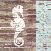 "5"" Square Distressed White Finish Seahorse on Brown Beverage Napkins"