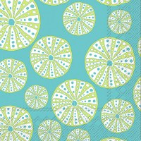 "5"" Square Green Sea Urchin on Torquise Beverage Napkins"