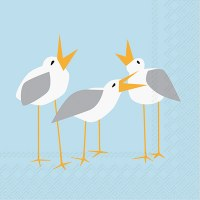 "5"" Square Seagulls on Light Blue Beverage Napkins"