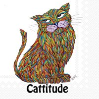 "5"" Cattitude Beverage Napkins"
