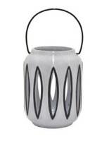"7"" White and Black Ceramic Lantern"