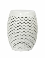 "18.5"" White Openwork Ceramic Garden Stool"