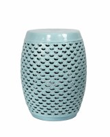 "18.5"" Light Blue Openwork Ceramic Garden Stool"