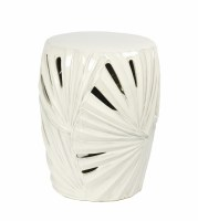 "17"" White Ceramic Openwork Palmetto Garden Stool"