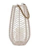 "18"" White Wavy Rattan Lantern"