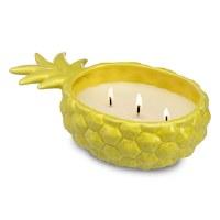 12 Oz Three Wick Margarita Candle In Yellow Pineapple Pot