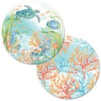 """14"""" Round Sealife Serenade Reversible Placemat"""