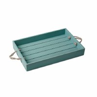 """12"""" x 18"""" Teal Wood Tray With Rope Handles"""