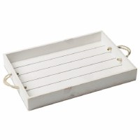 """12"""" x 18"""" Whitewashed Wood Tray With Rope Handles"""